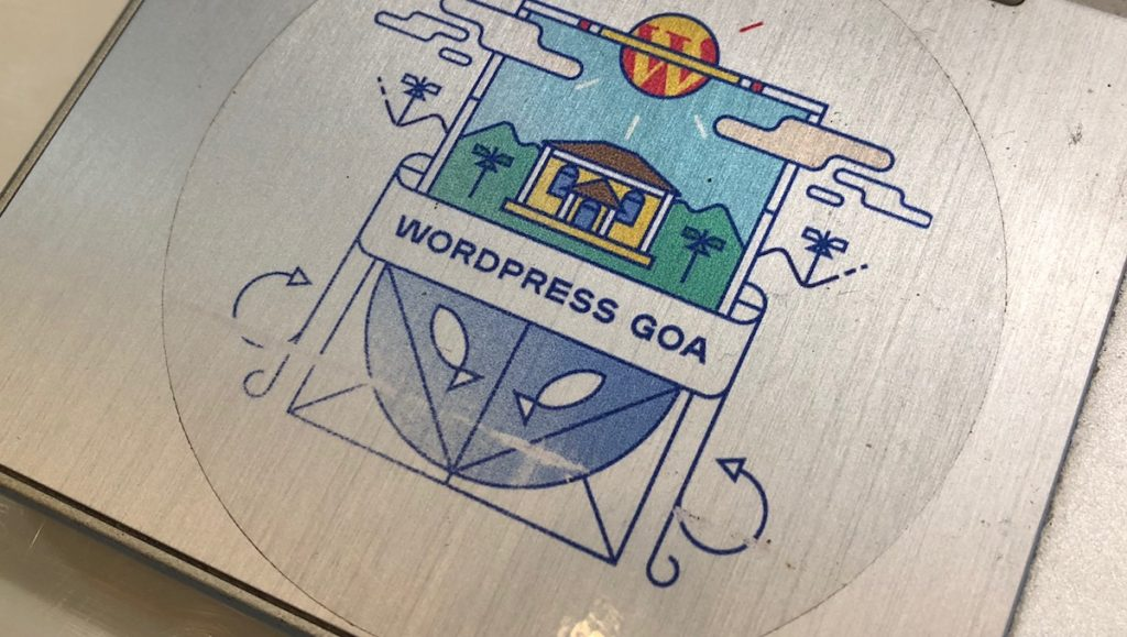 Wordpress Goa sticker on a laptop