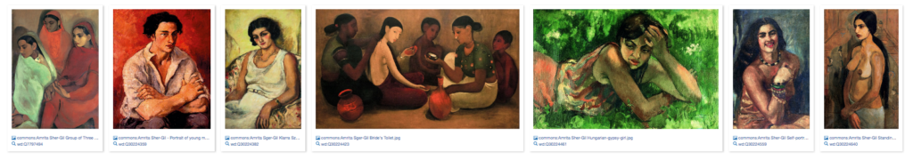 Wikidata query results showing paintings of Amrita Sher-Gil.