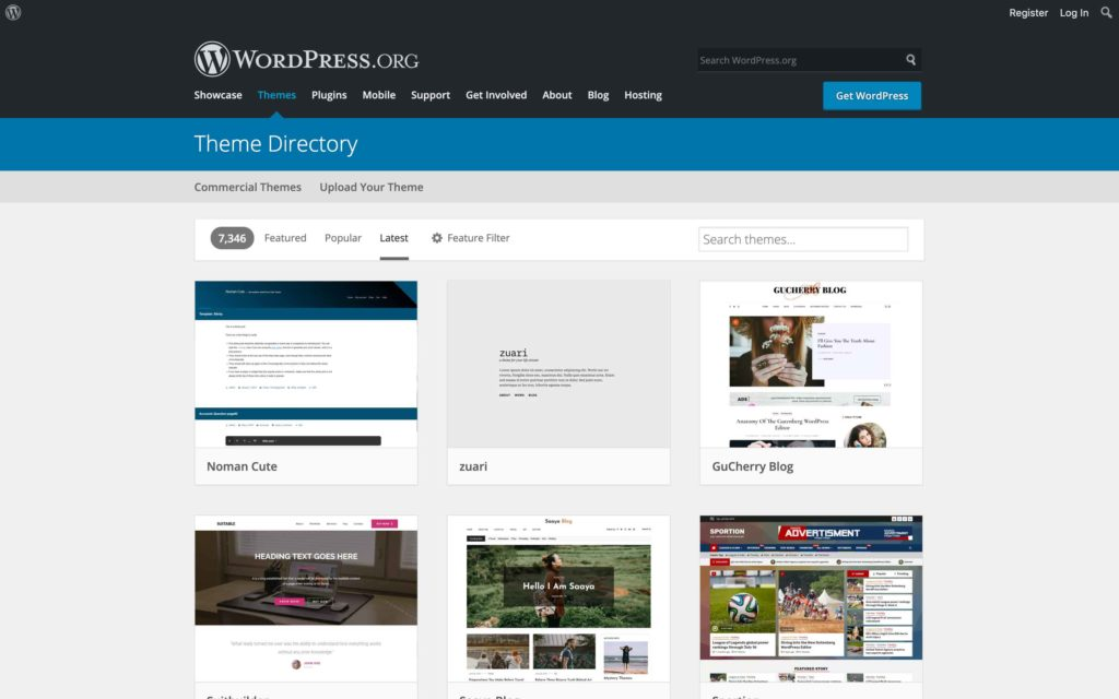 The Zuari theme on latest page of WordPress.org theme directory.