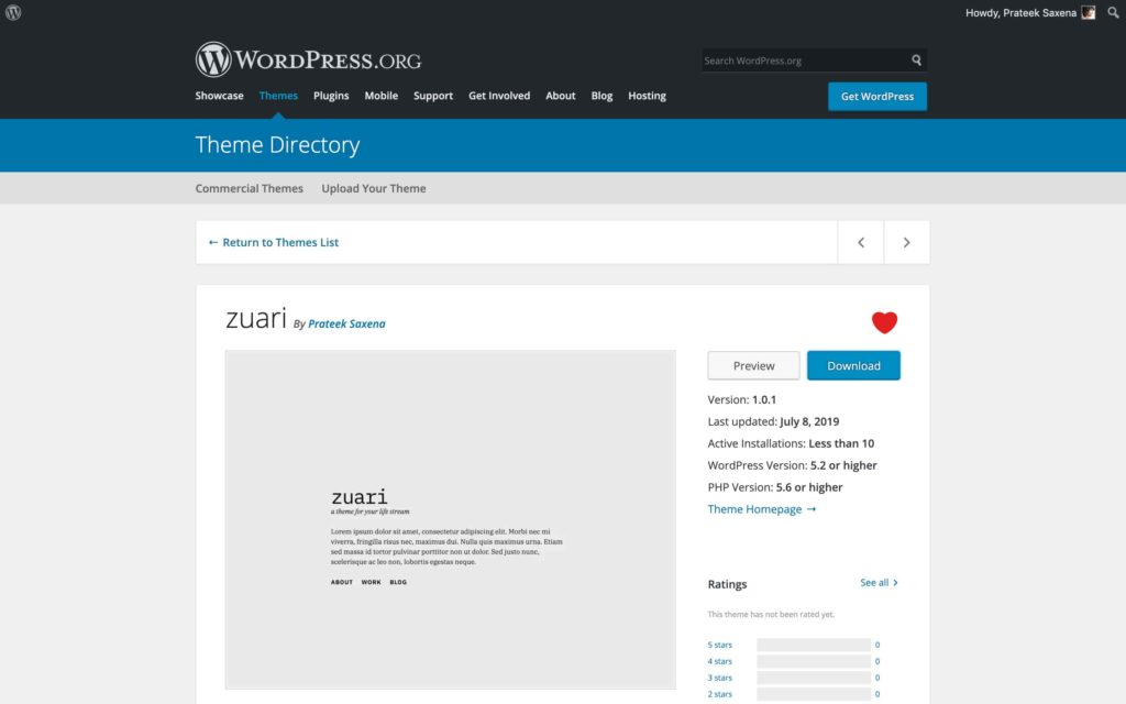 The Zuari theme as seen on WordPress.org