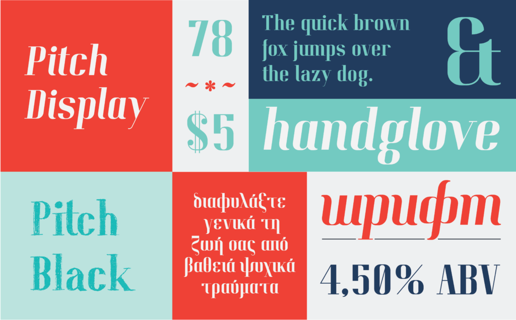 Sample of font Pitch Display by Kate Wiliwinska