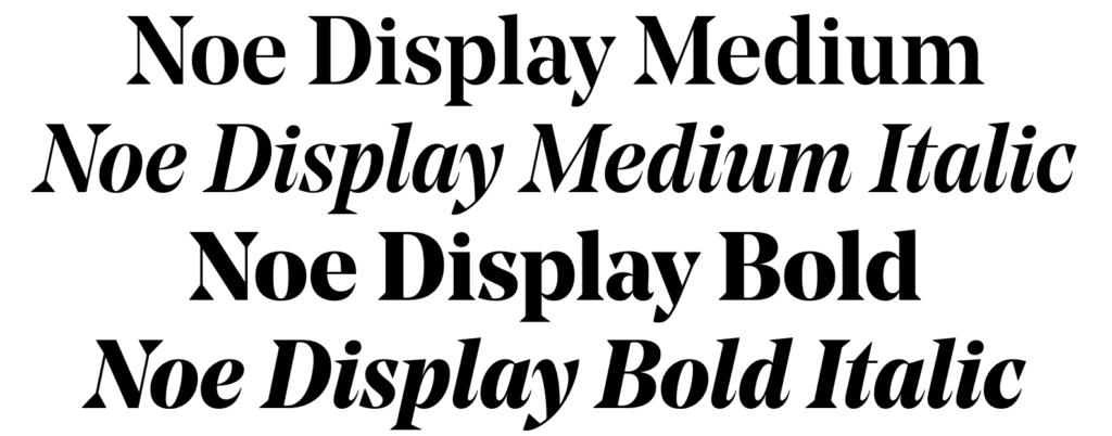 Specimen of the Noe Display font